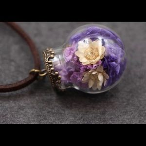 Glass Bottle purple flower necklace
